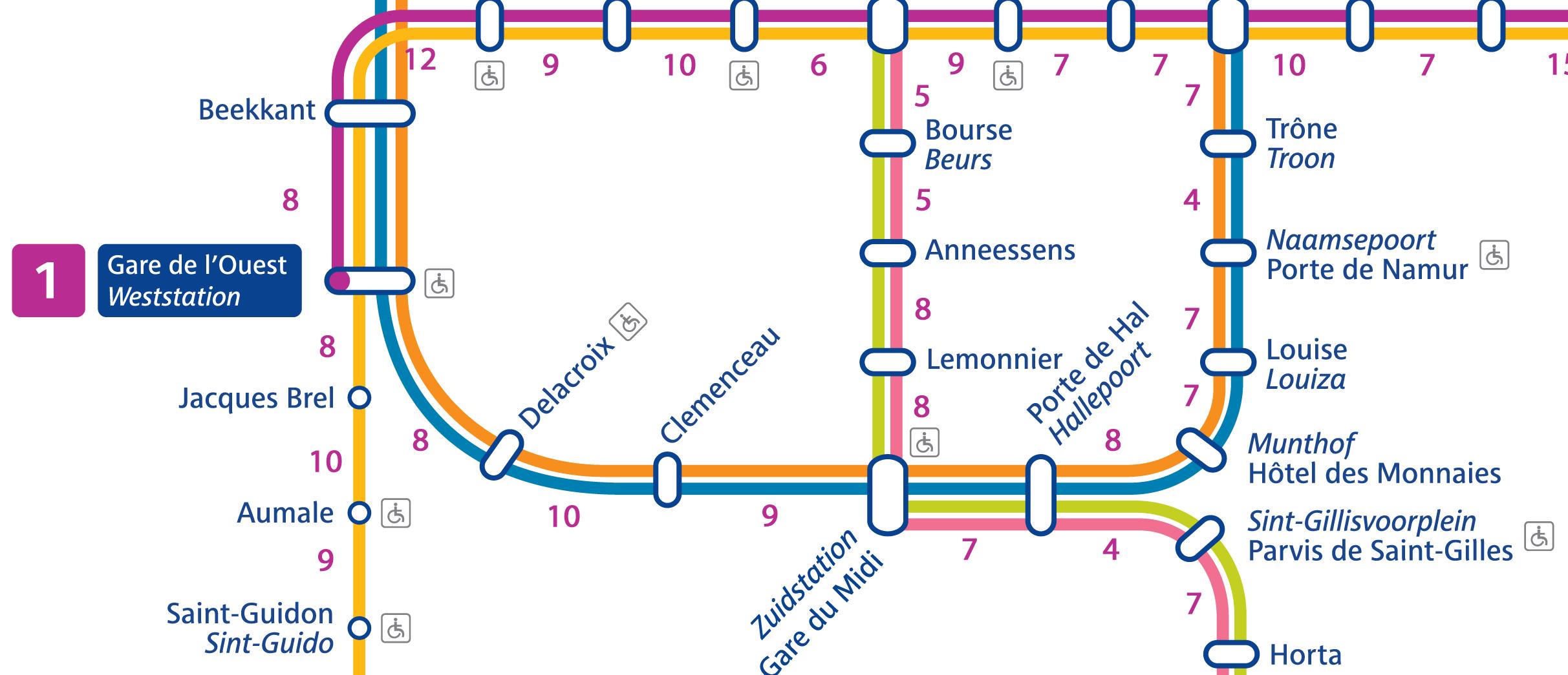 De kaart van de Brusselse metro, met wandeltijden