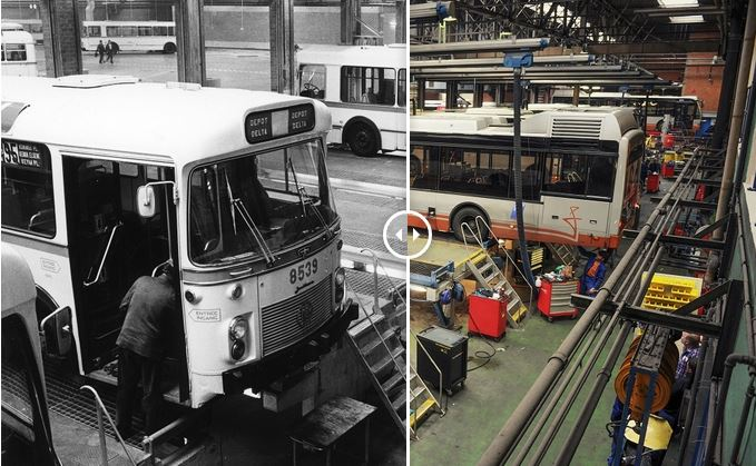 De MIVB grenzeloos : 60 jaar verschil tussen deze foto's